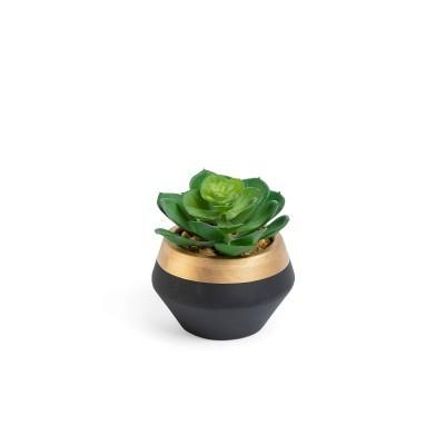 Planta artificial, c/vaso cerâmica, preto/dourado, Ø10x11 cm