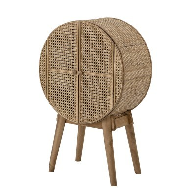 Armário Otto, madeira de pinho/vime natural, 52x80 cm