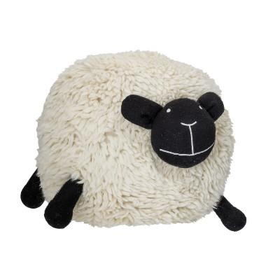 Pufe ovelha branca, lã/algodão, 75x56x50