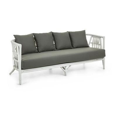 Sofá em vime natural, branco, c/almofadas, 74x188 cm