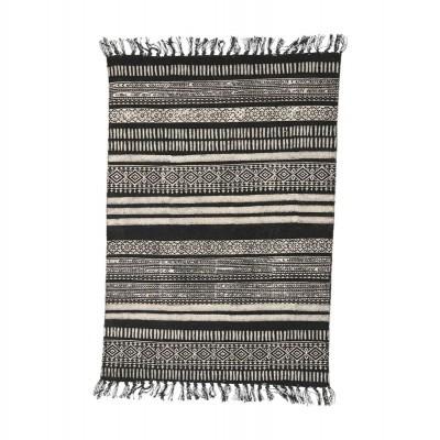 Tapete em algodão c/franjas, preto/cinza, 230x160 cm