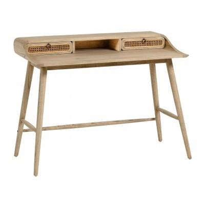 Secretária Kalú, madeira de mindi/rattan, 86x110 cm