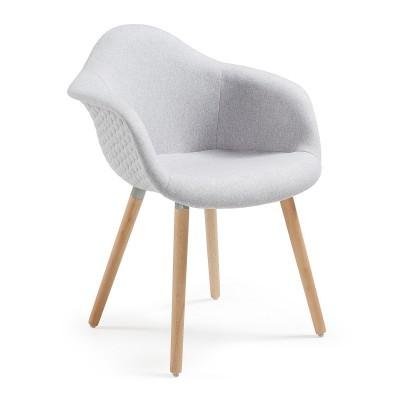 Cadeira Lenna, c/braços, estofada, assento acolchoado, madeira faia