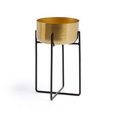 Vaso dourado em metal, c/suporte, Ø19x31 cm
