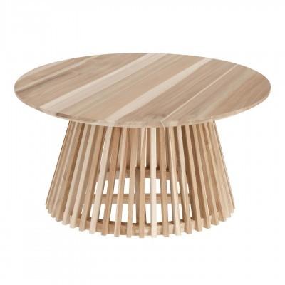 Mesa de centro Janette, madeira teca natural, Ø80x40 cm