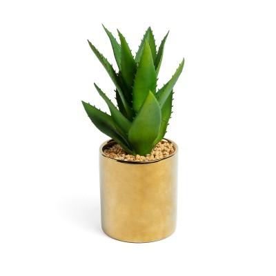 Planta artificial, c/vaso cerâmica dourado, Ø11x20 cm