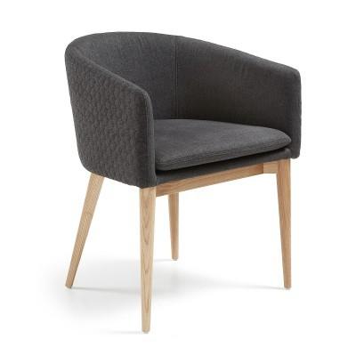 Cadeira c/braços, estofada, madeira de freixo