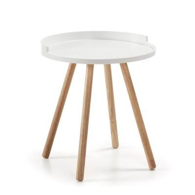 Mesa de apoio em madeira seringueira