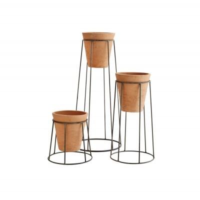 Vasos em cerâmica terracota c/suporte, (Conj.3)