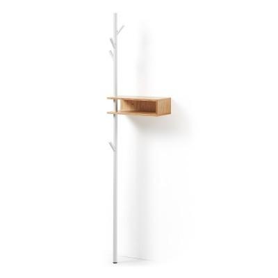 Cabide c/prateleira em madeira carvalho, 175x40 cm