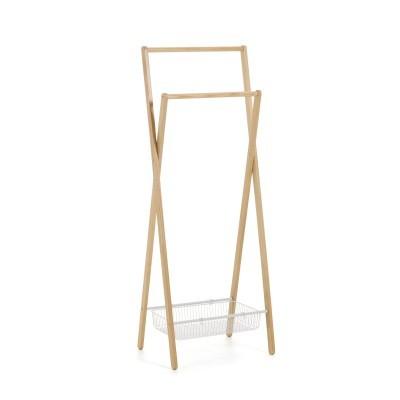 Porta cabides em metal/madeira, 63x165 cm