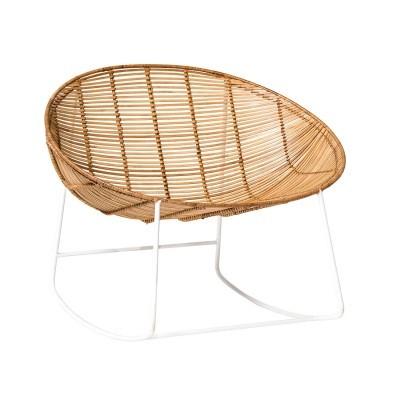 Cadeira de baloiço, metal/vime natural