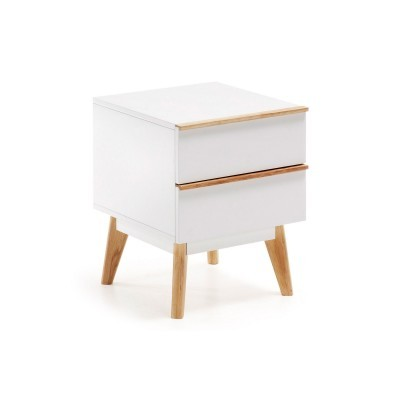 Mesa de cabeceira em MDF lacado/madeira de carvalho, 40x50 cm