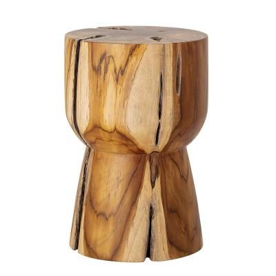 Tamborete Gaia, madeira de teca natural, Ø30x45cm