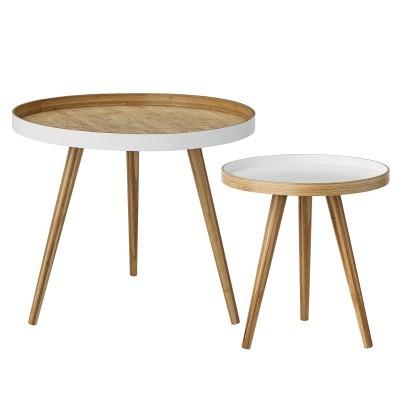 Mesas de apoio Cappuccino em madeira bambú, (Conj.2)