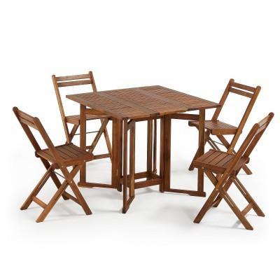 Conjunto mesa e 4 cadeiras dobráveis, madeira de acácia natural
