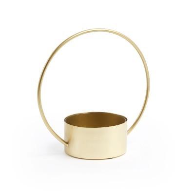 Vaso c/alça, metal, dourado, 35x35 cm