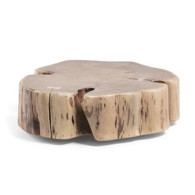 Mesa de centro em madeira de acácia natural, c/rodas, Ø65x23 cm