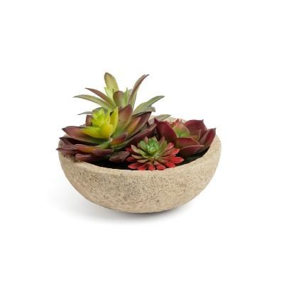 Planta artificial, c/vaso cimento, Ø17x14 cm