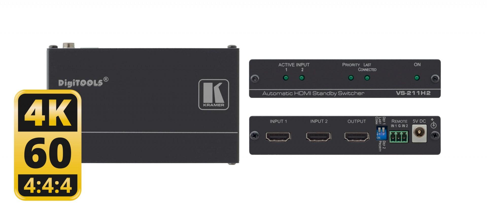 Kramer VS-211H2 2x1 4K HDR HDCP 2.2 HDMI Auto Switcher