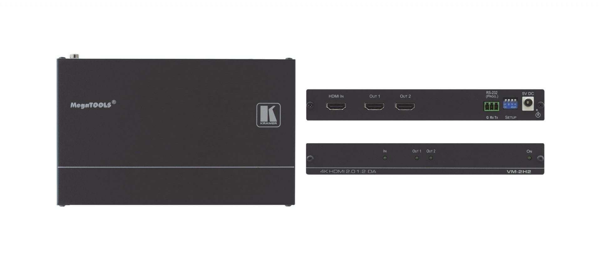 Kramer 1:2 distribution amplifier for up to 4K HDR - VM-2H2