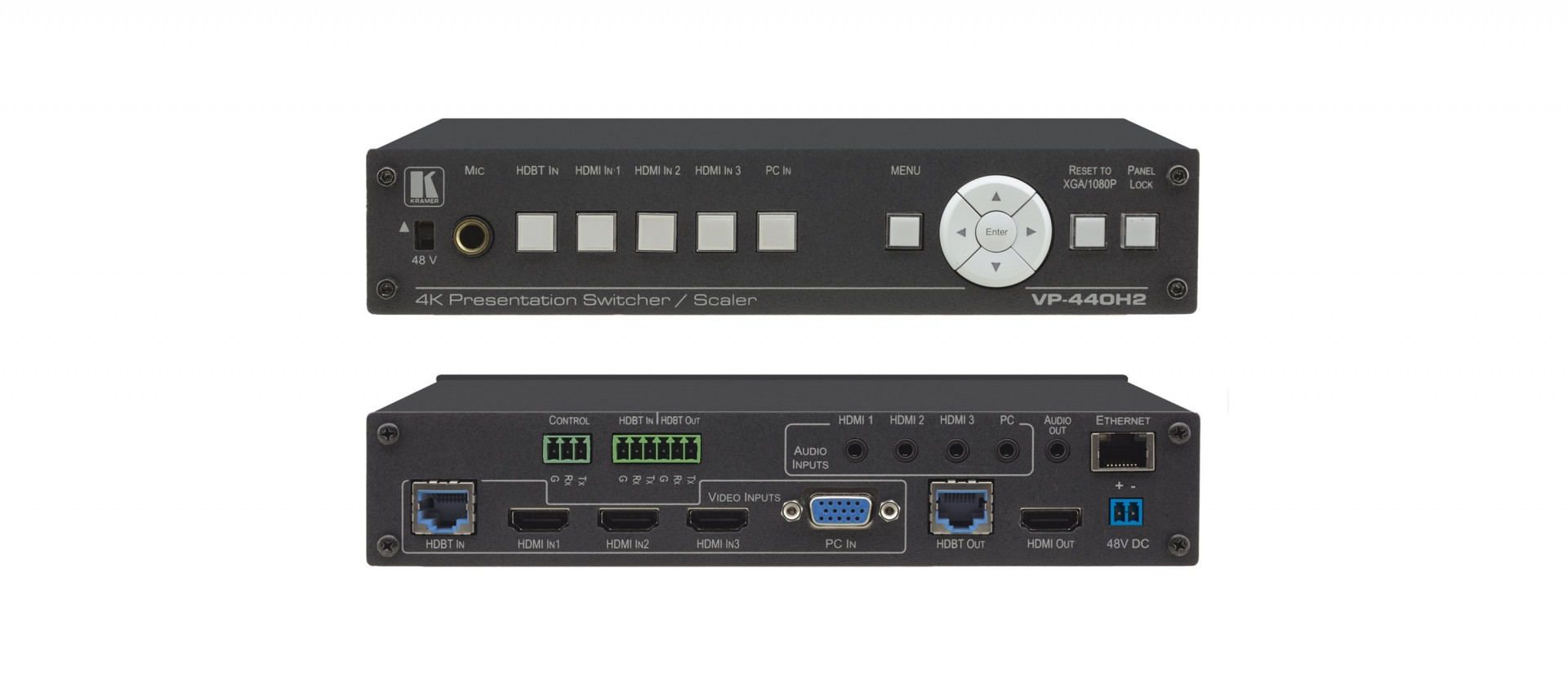 Kramer VP-440H2 Compact 5–Input 4K60 4:4:4 Presentation Switcher/Scaler with HDBaseT & HDMI Simultaneous Outputs