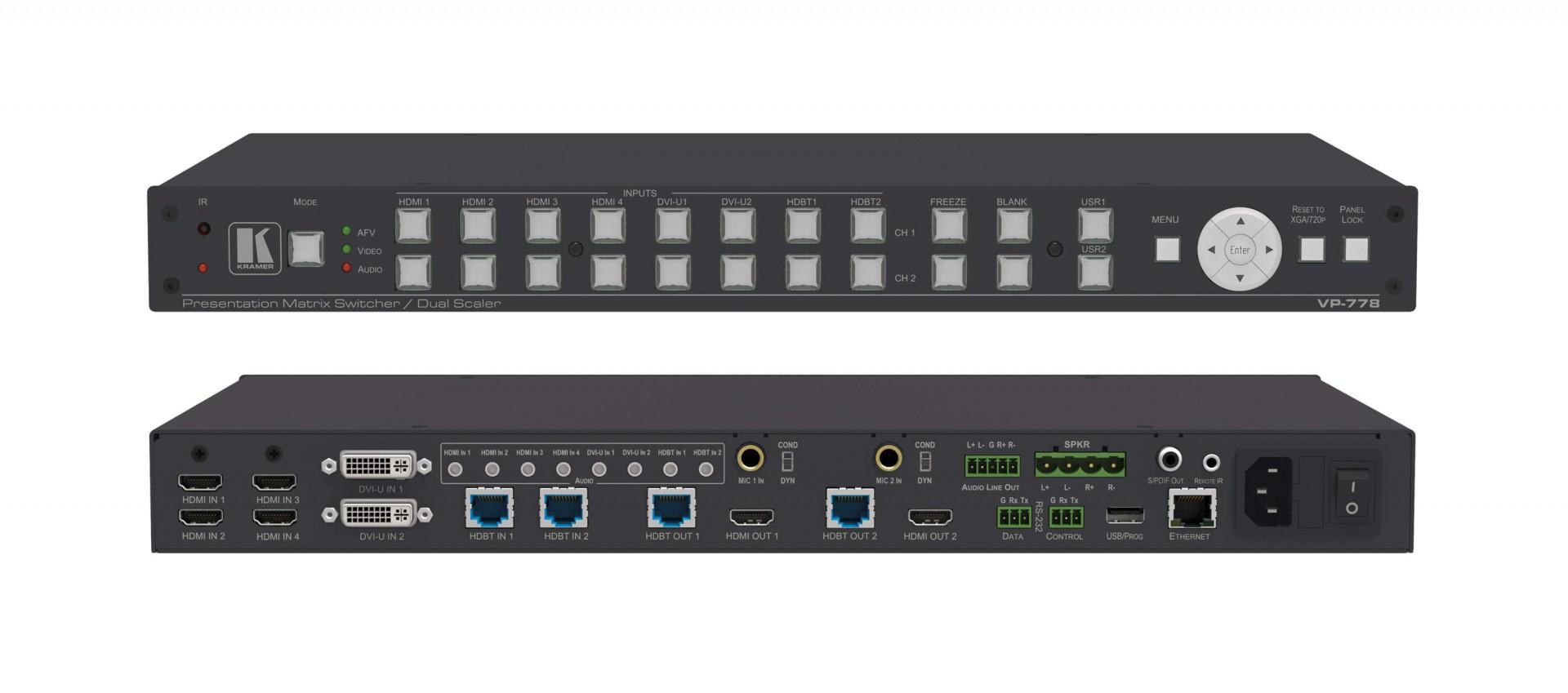 Kramer VP-778 8–Input Presentation Matrix Switcher/Scaler with Seamless Video Cuts and 4K30 Output Support