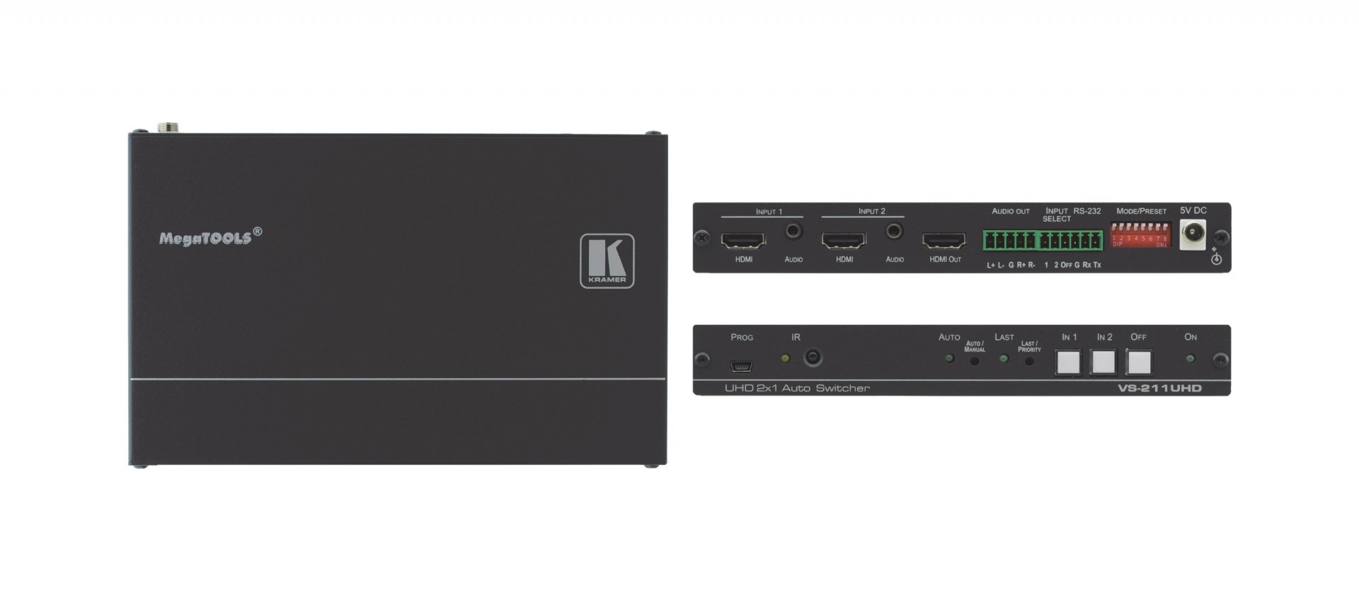 Kramer VS-211UHD 2x1 4K60 4:2:0 HDMI Auto Switcher with Audio