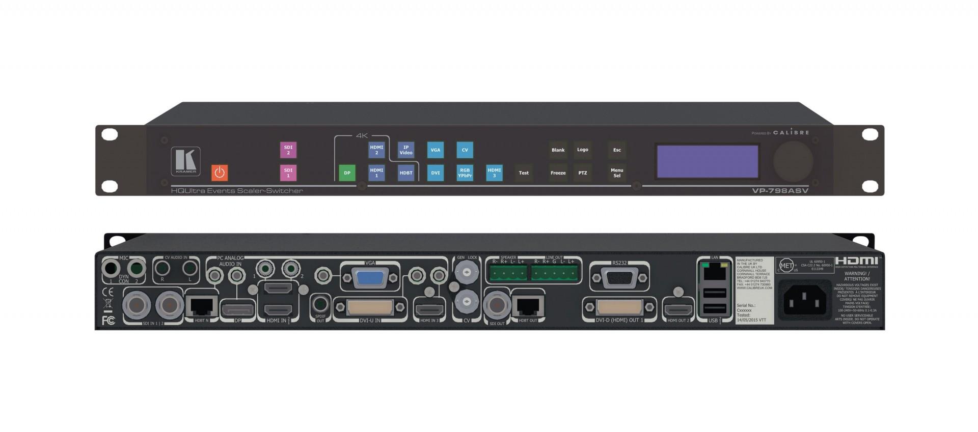 Kramer VP-798ASV -12–Input 4K60 4:2:0 Presentation Switcher/Scaler