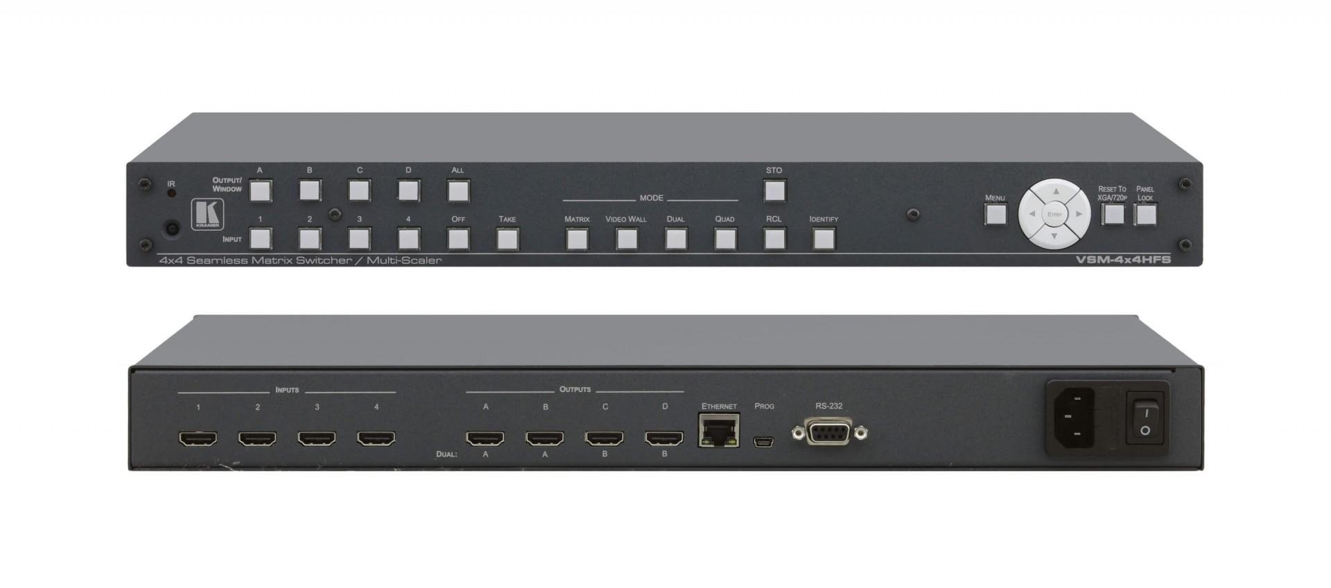 Kramer VSM-4x4HFS 4x4 Seamless Matrix Switcher/Multi–Scaler — Seamless matrix, video wall, dual display (PIP/P&P) and quad display