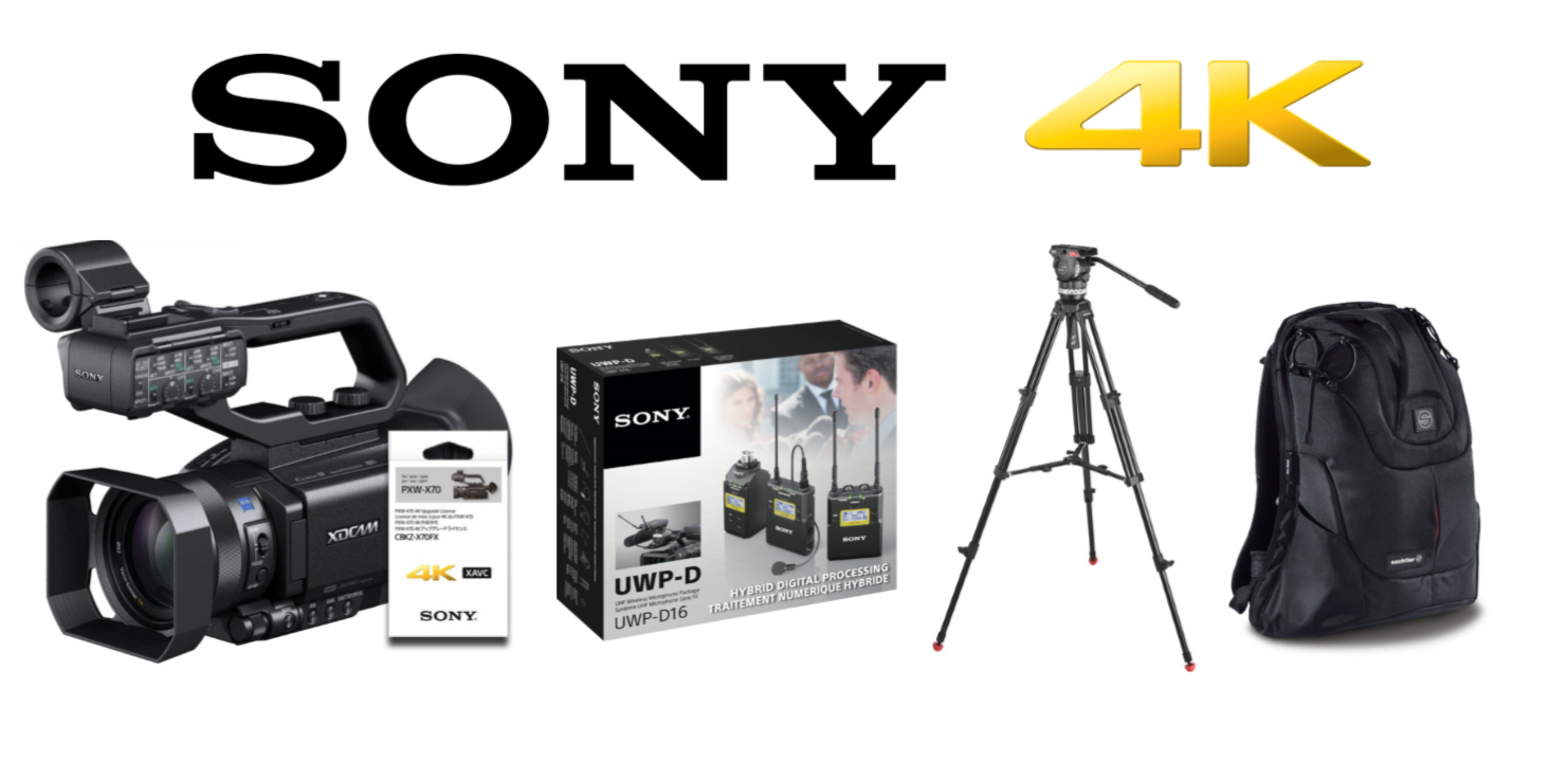 Sony PXW-X70 4K com Tripé Sachtler com Mochila e Kit Áudio