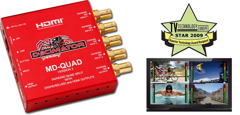Decimator MD-QUAD v3: 3G/HD/SD-SDI Quad Split Multi-Viewer, 3G/HD/SD-SDI + HDMI Outputs + TPG