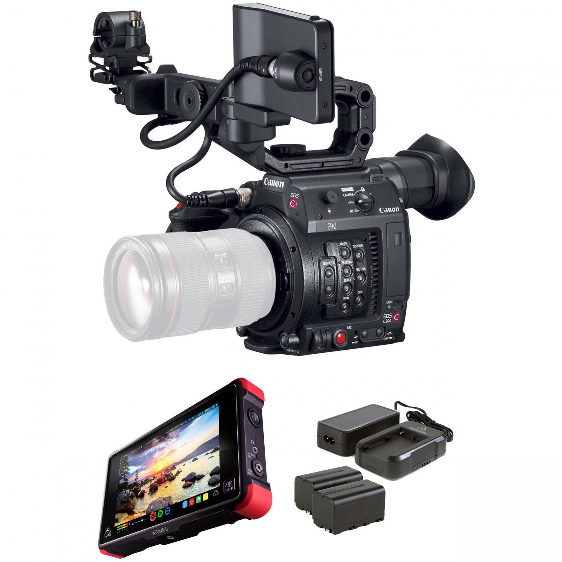 EOS C200 + Gravador Ninja V+ Atomos Powerkit+ Atomos Full HDMI Cable