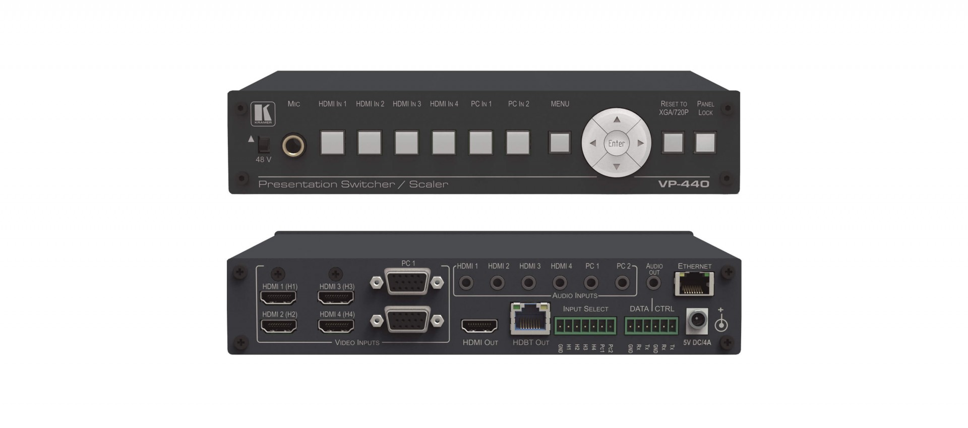 Kramer VP-440 Compact 6–Input Presentation Switcher/Scaler with HDBaseT & HDMI Simultaneous Outputs