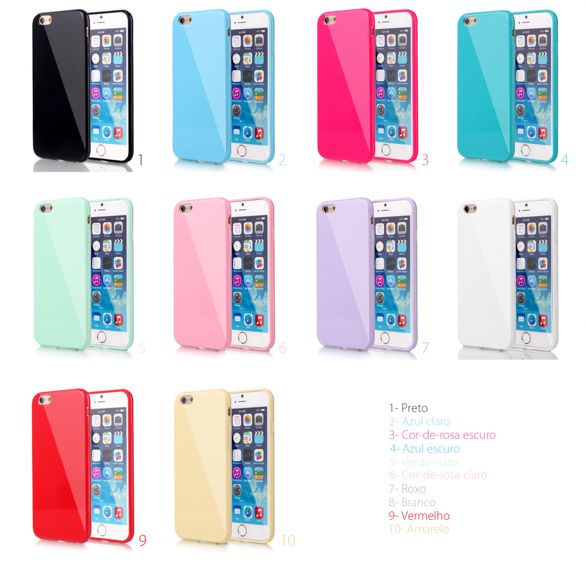 ab9ad8bab ... iPhone 6 6S Plus Capa Silicone Cores Pastel Gloss