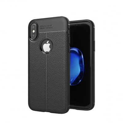 iPhone X/XS Capa Silicone Leather Texture