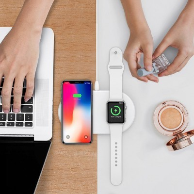 Base de Carregamento sem fios Qi Baseus 2-em-1 Smartphone & Watch