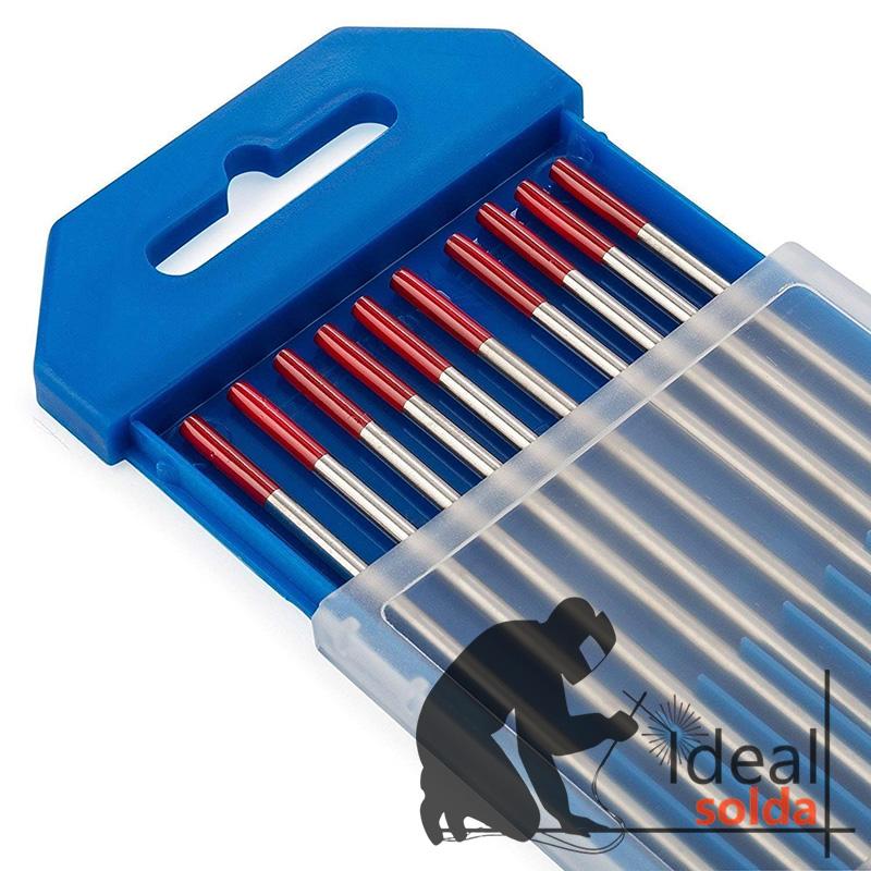 Caixa 10 unidades Elétrodos de Tungsténio Cor Vermelho (2% Th) de 2,4mm