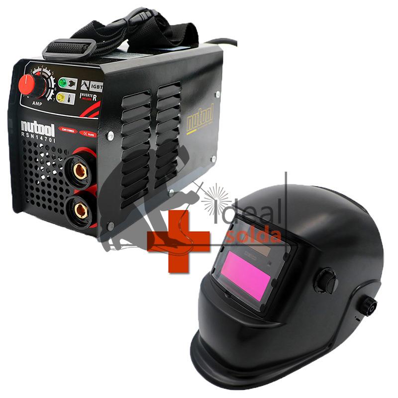 Nutool Aparelho Inverter de Soldar Eletrodos MMA 140 AMP + Máscara Automática BLACK