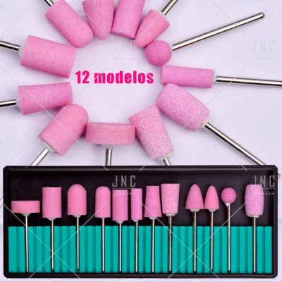 Kit Acessórios Set Manicure - 12 Brocas Pedra | Ref.860800