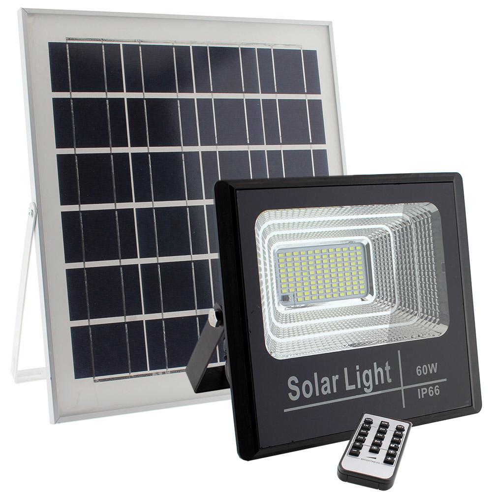 Projetor Solar 60W c/ Painel e telecomando