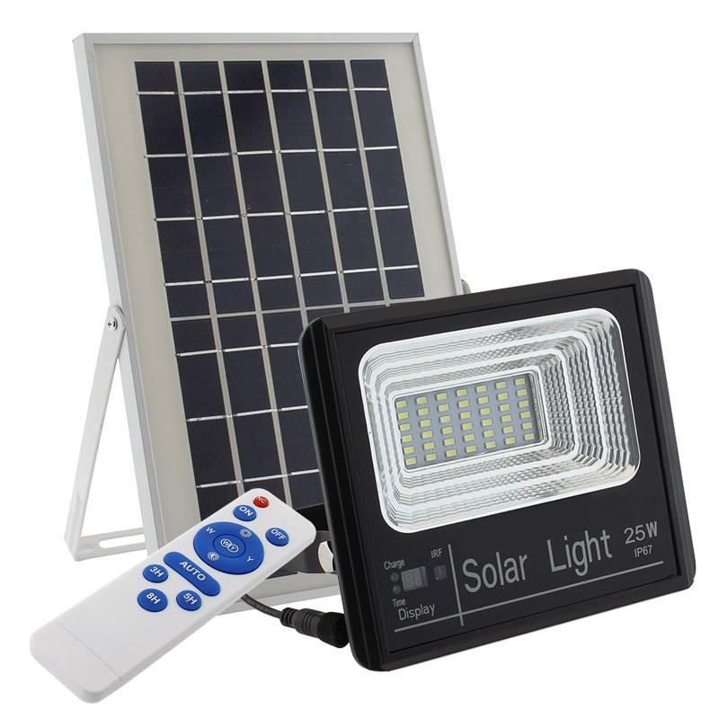 Projetor Solar 25W c/ Painel e telecomando
