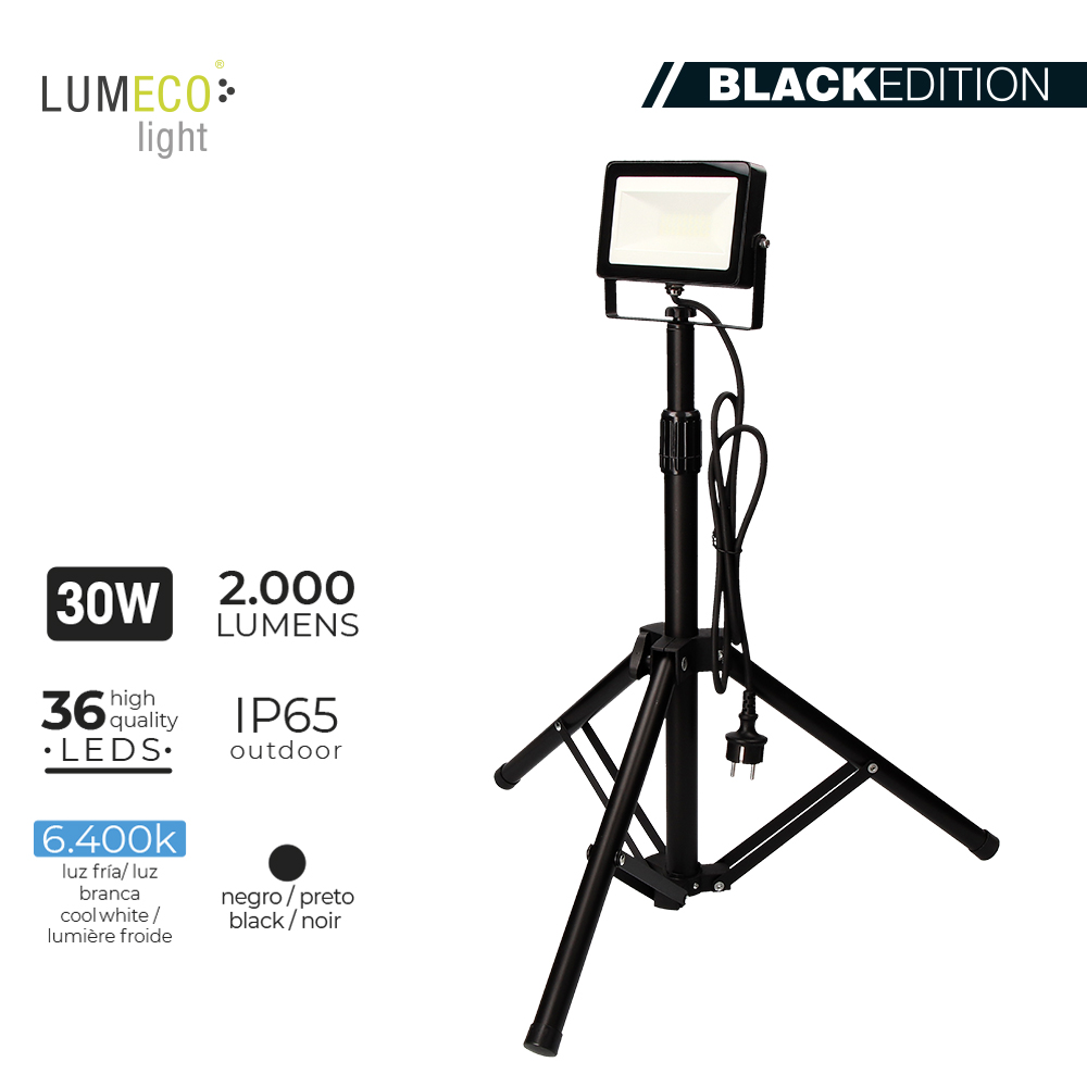 "Projetor LED 30W  ""Black Edition"" C/ TRIPE"