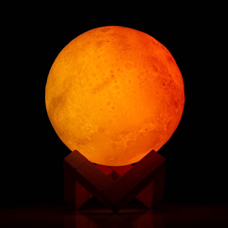 Candeeiro Lua LED 3D RGB