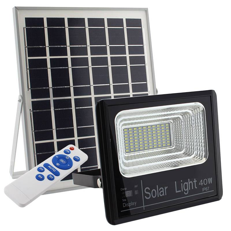 Projetor Solar 40W c/ Painel e telecomando