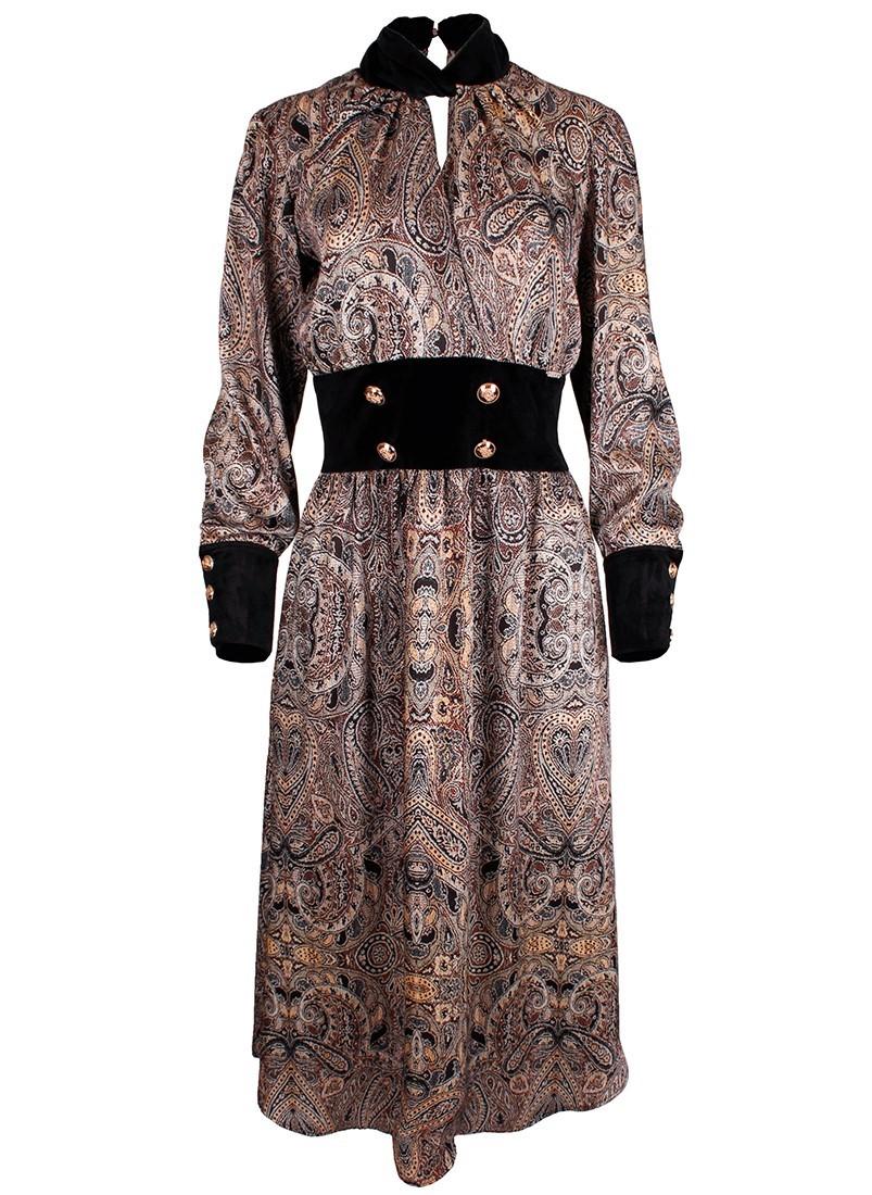 Vestido midi feminino com padrão Sahoco