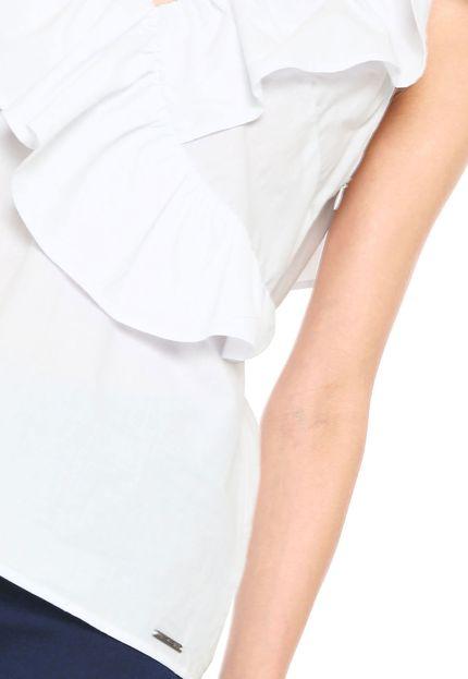 Top branco feminino com folhos Colcci