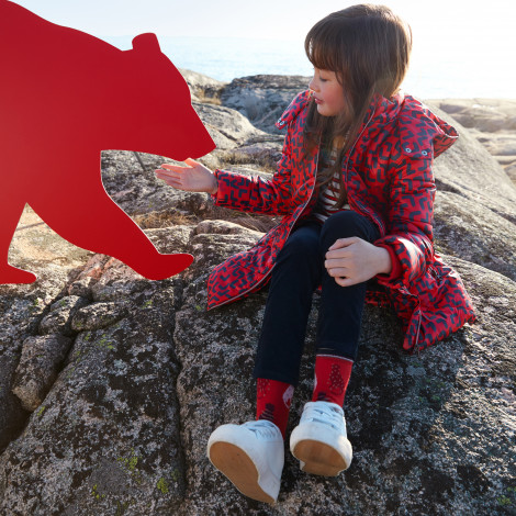 Kispo vermelho com padrão azul marinho infantil Catimini