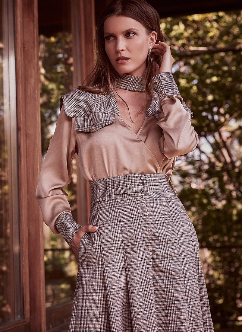 Blusa feminina Sahoco em tecido combinado xadrez