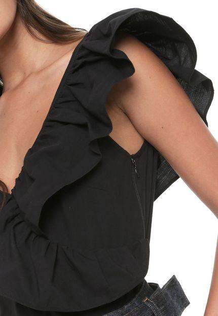 Top preto feminino com folhos Colcci